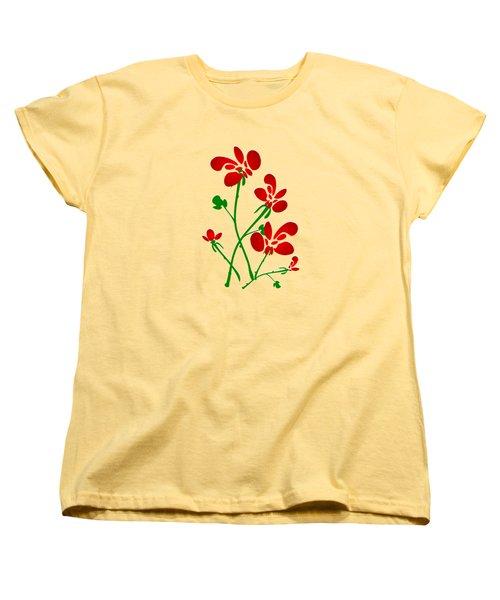 Rooster Flowers Women's T-Shirt (Standard Cut) by Anastasiya Malakhova