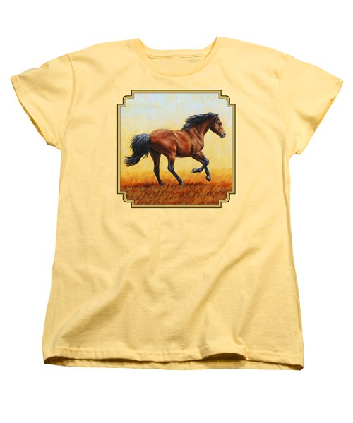 Running Horse - Evening Fire Women's T-Shirt (Standard Cut) by Crista Forest