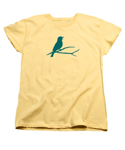 Rustic Green Bird Silhouette Women's T-Shirt (Standard Cut) by Christina Rollo