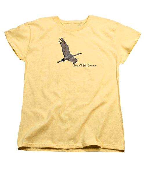 Sandhill Crane In Flight Women's T-Shirt (Standard Cut) by Whispering Peaks Photography