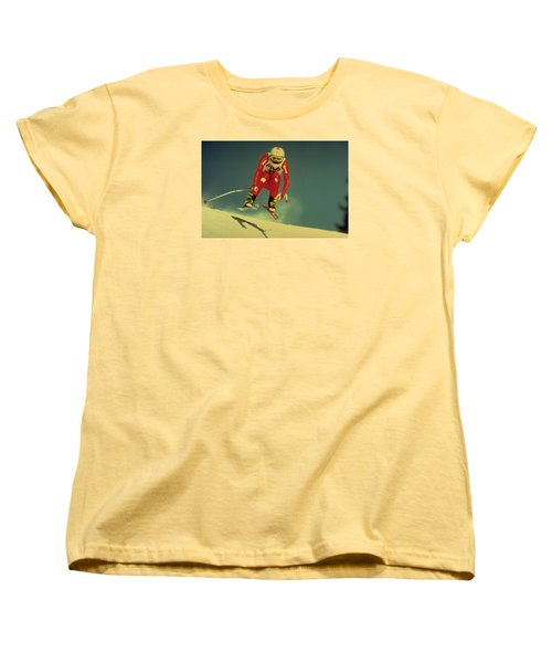 Women's T-Shirt (Standard Cut) featuring the photograph Skiing In Crans Montana by Travel Pics