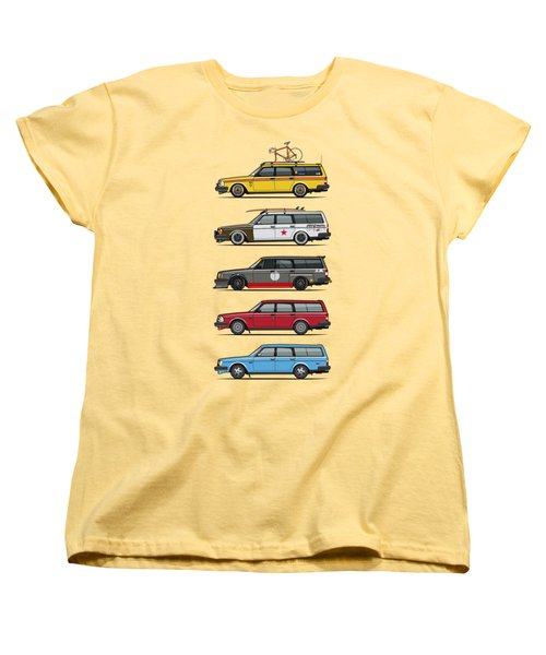Stack Of Volvo 200 Series 245 Wagons Women's T-Shirt (Standard Cut) by Monkey Crisis On Mars
