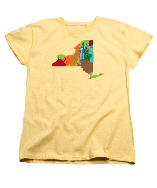 State Of New York Official Map Symbols Women's T-Shirt (Standard Cut) by Jit Lim
