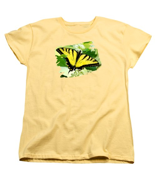 Swallowtail Butterfly Feeding On Flowers Women's T-Shirt (Standard Cut) by Christina Rollo