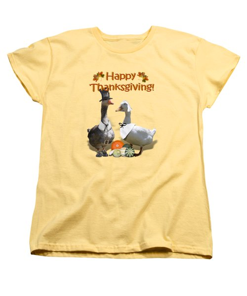 Thanksgiving Pilgrim Ducks Women's T-Shirt (Standard Cut) by Gravityx9 Designs