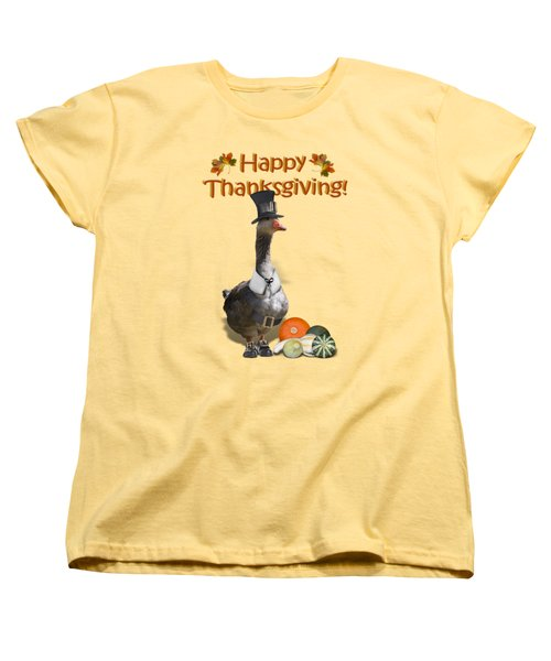 Thanksgiving Pilgrim Goose Women's T-Shirt (Standard Cut) by Gravityx9  Designs