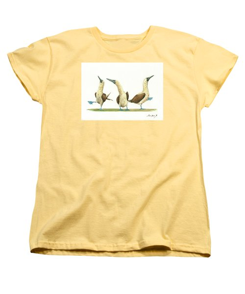Three Blue Footed Boobies Women's T-Shirt (Standard Cut) by Juan Bosco