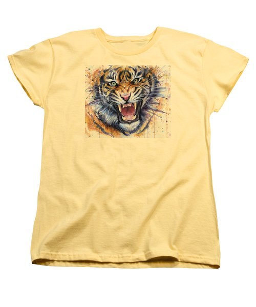 Tiger Watercolor Portrait Women's T-Shirt (Standard Cut) by Olga Shvartsur