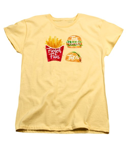 Vintage French Fries Women's T-Shirt (Standard Cut) by Aloke Design