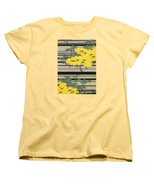 Vintage Japanese Illustration Of An Abstract Forest Landscape With Flying Cranes Women's T-Shirt (Standard Cut) by Japanese School