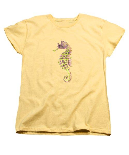 Violet Green Seahorse Women's T-Shirt (Standard Cut) by Amy Kirkpatrick