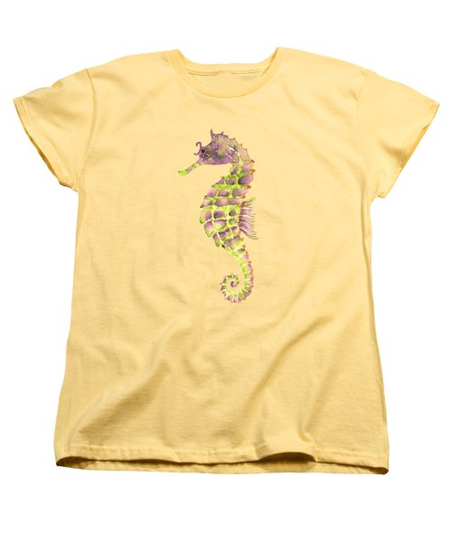 Violet Green Seahorse - Square Women's T-Shirt (Standard Cut) by Amy Kirkpatrick