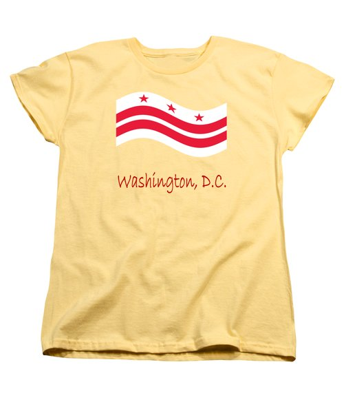 Waving District Of Columbia Flag And Name Women's T-Shirt (Standard Cut) by Frederick Holiday