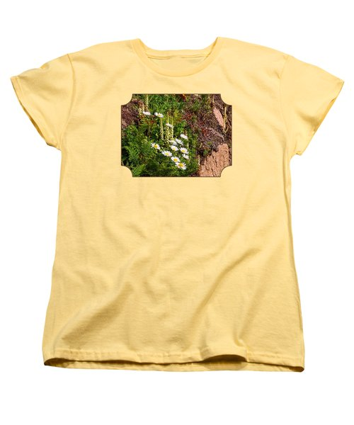 Wild Daisies In The Rocks Women's T-Shirt (Standard Cut) by Gill Billington