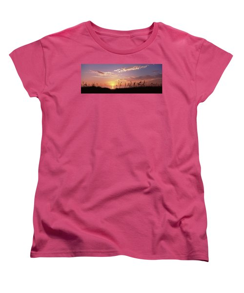 Sunset Over The Sea, Venice Beach Women's T-Shirt (Standard Cut) by Panoramic Images