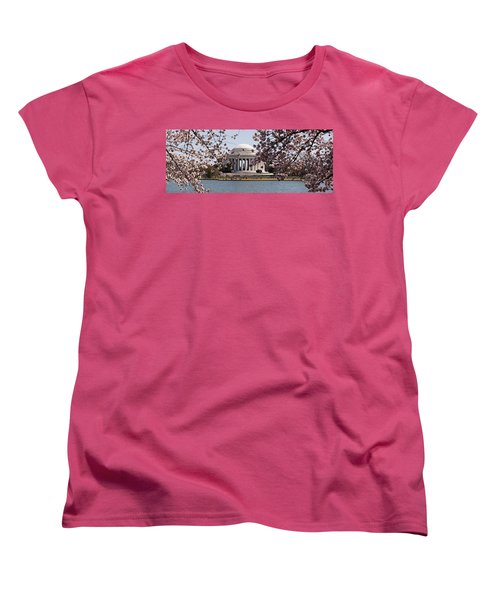Cherry Blossom Trees In The Tidal Basin Women's T-Shirt (Standard Cut) by Panoramic Images