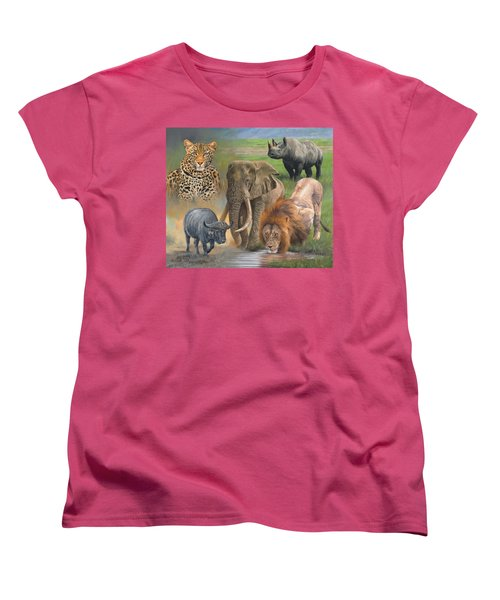 Africa's Big Five Women's T-Shirt (Standard Cut) by David Stribbling