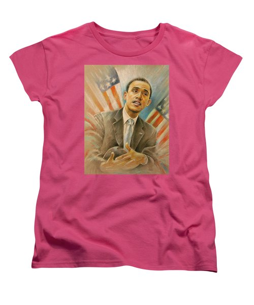 Barack Obama Taking It Easy Women's T-Shirt (Standard Cut) by Miki De Goodaboom