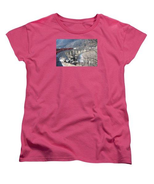 Women's T-Shirt (Standard Cut) featuring the photograph Bernina Express In Winter by Travel Pics