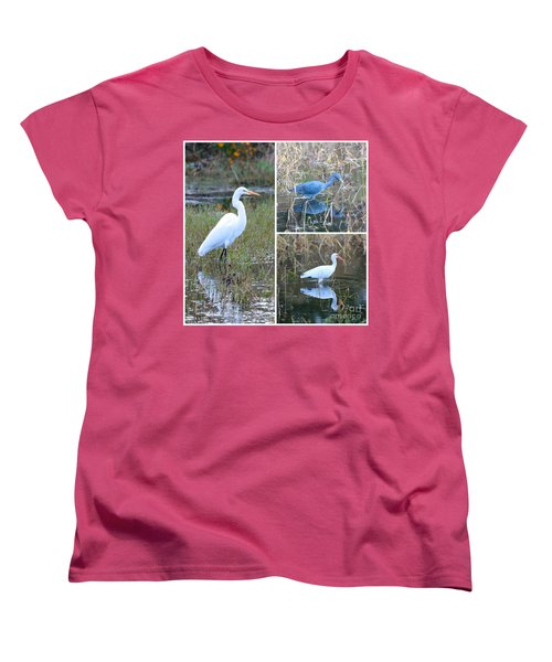 Birds On Pond Collage Women's T-Shirt (Standard Cut) by Carol Groenen