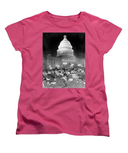 Bonus Army Sleeps At Capitol Women's T-Shirt (Standard Cut) by Underwood Archives