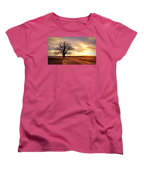 Burr Oak Silhouette Women's T-Shirt (Standard Cut) by Cricket Hackmann