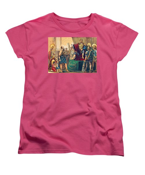 Women's T-Shirt (Standard Cut) featuring the photograph Caractacus Before Emperor Claudius, 1st by British Library