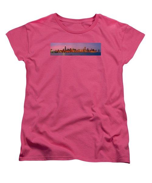 Chicago Skyline At Dusk 2008 Panorama Women's T-Shirt (Standard Cut) by Jon Holiday