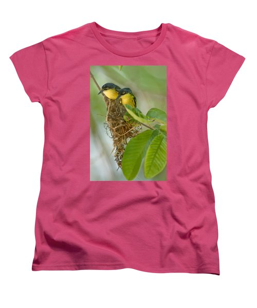 Close-up Of Two Common Tody-flycatchers Women's T-Shirt (Standard Cut) by Panoramic Images