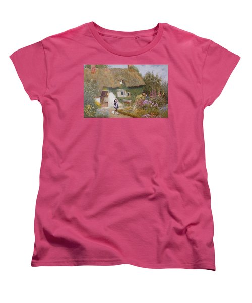 Feeding The Pigeons Women's T-Shirt (Standard Cut) by Arthur Claude Strachan