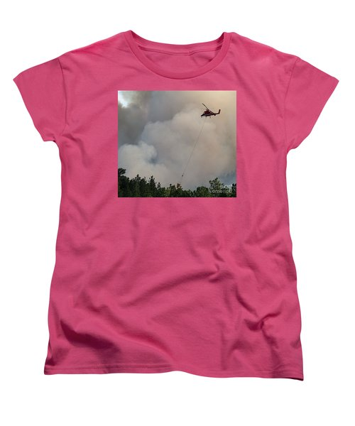 Women's T-Shirt (Standard Cut) featuring the photograph K-max Helicopter On Myrtle Fire by Bill Gabbert