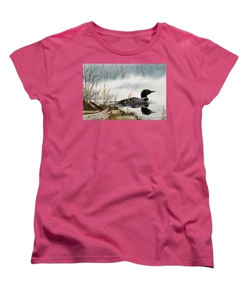 Loons Misty Shore Women's T-Shirt (Standard Cut) by James Williamson