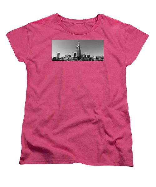 Nashville Tennessee Skyline Black And White Women's T-Shirt (Standard Cut) by Dan Sproul