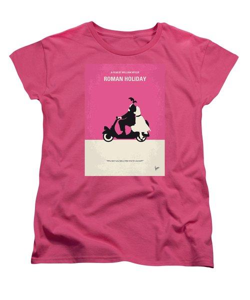 No205 My Roman Holiday Minimal Movie Poster Women's T-Shirt (Standard Cut) by Chungkong Art