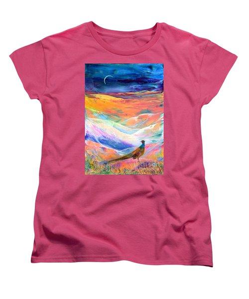 Pheasant Moon Women's T-Shirt (Standard Cut) by Jane Small