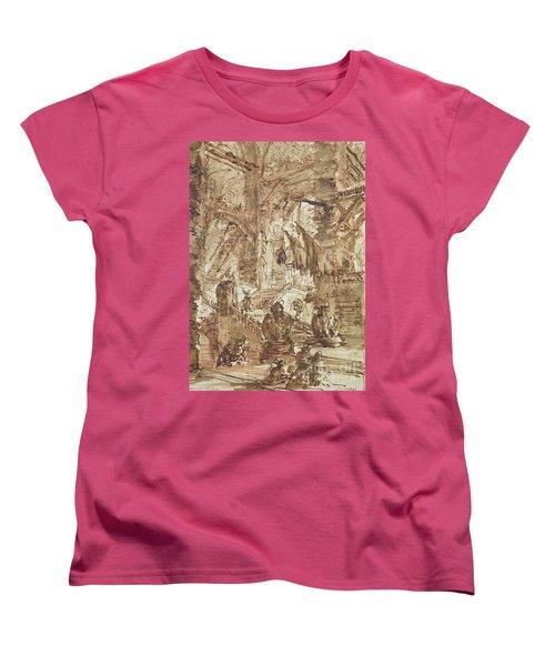 Preparatory Drawing For Plate Number Viii Of The Carceri Al'invenzione Series Women's T-Shirt (Standard Cut) by Giovanni Battista Piranesi