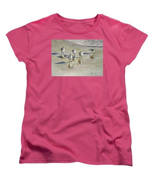 Sandpipers 2 Watercolor 5-13-12 Julianne Felton Women's T-Shirt (Standard Cut) by Julianne Felton