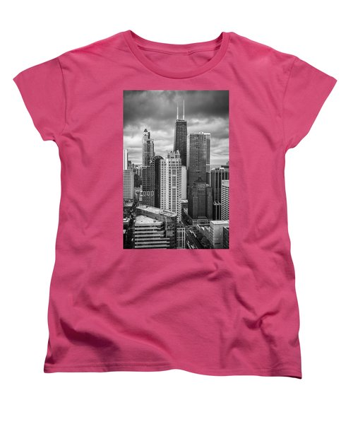 Streeterville From Above Black And White Women's T-Shirt (Standard Cut) by Adam Romanowicz