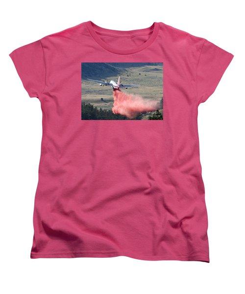 Women's T-Shirt (Standard Cut) featuring the photograph Tanker 45 Dropping On Whoopup Fire by Bill Gabbert