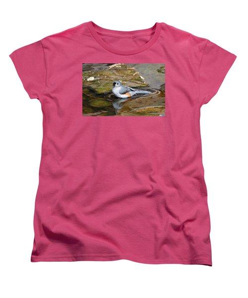 Tufted Titmouse In Pond Women's T-Shirt (Standard Cut) by Sandy Keeton