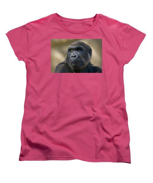 Western Lowland Gorilla Portrait Women's T-Shirt (Standard Cut) by San Diego Zoo