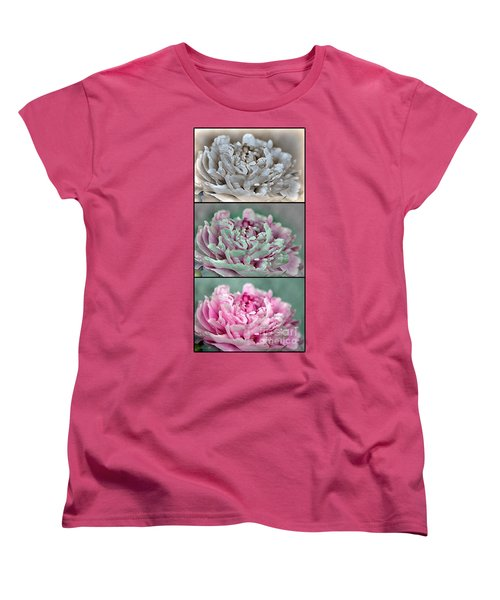 Peony Named Shirley Temple Women's T-Shirt (Standard Cut) by J McCombie
