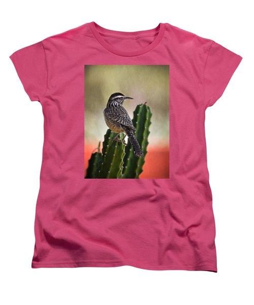 A Cactus Wren  Women's T-Shirt (Standard Cut) by Saija  Lehtonen