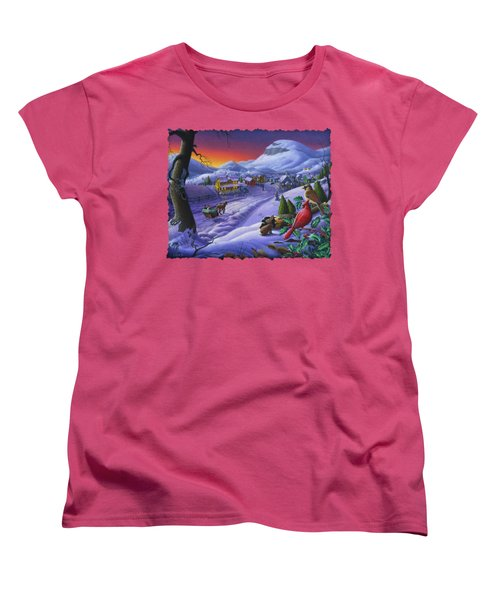 Christmas Sleigh Ride Winter Landscape Oil Painting - Cardinals Country Farm - Small Town Folk Art Women's T-Shirt (Standard Cut) by Walt Curlee