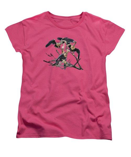 Anhinga Feeding Time Transparency Women's T-Shirt (Standard Cut) by Richard Goldman