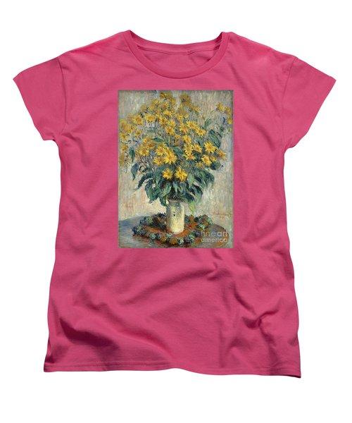Jerusalem Artichoke Flowers Women's T-Shirt (Standard Cut) by Claude Monet