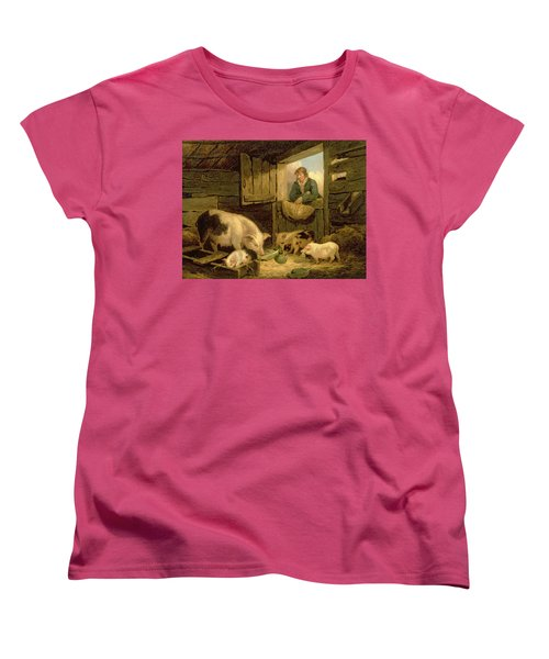 A Boy Looking Into A Pig Sty Women's T-Shirt (Standard Cut) by George Morland