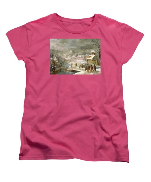 A Winter Landscape With Travellers On A Path Women's T-Shirt (Standard Cut) by Denys van Alsloot