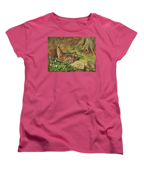 A Woodcock And Chicks Women's T-Shirt (Standard Cut) by Archibald Thorburn