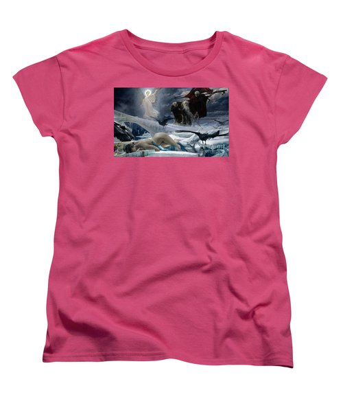 Ahasuerus At The End Of The World Women's T-Shirt (Standard Cut) by Adolph Hiremy Hirschl